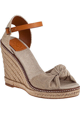 e72ce2ae1edf Tory Burch Macy Beige Canvas Leather Wedge Espadrille Sandal Gold Wash Shoe  10