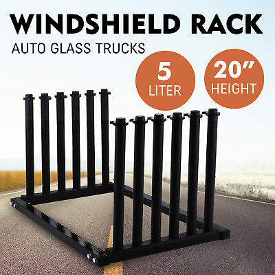 5-Lite Windshield Glass Rack Pickup 12 Steel Posts Black All-Weather Atuo Truck