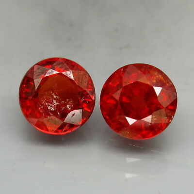 Round 6.5mm.PAIR! Outstanding Color Natural Red Spessartite Garnet 3.30Ct.
