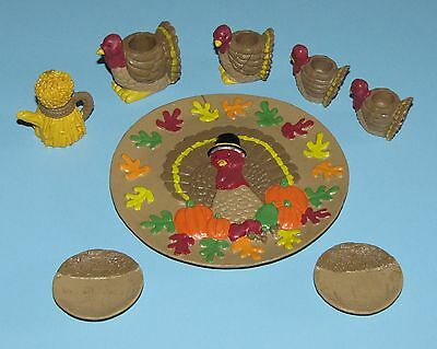 Thanksgiving Decorations 8 Piece Lot Turkey Candle Holders Wheat Teapot Plate