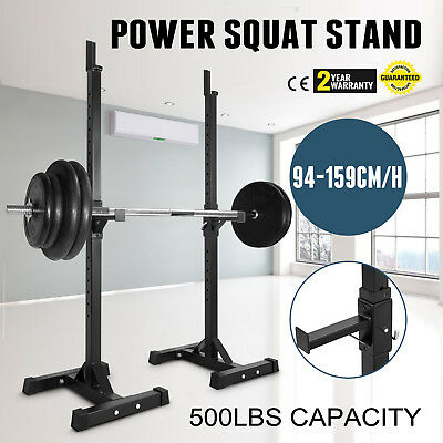 Power Squat Stand Rack Weight Gym Bench Heavy Duty 500lbs Capacity