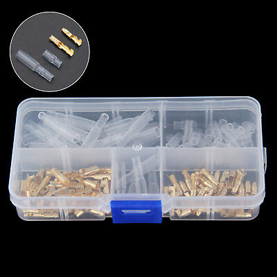 120Pcs 3.5mm Motorcycle Brass Bullet Connector Terminal Male & Female + Cover
