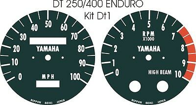 DT125 DT175 MX DT250 DT400 DT1 DT/RT360 RT3 YAMAHA SPEEDO TACHO CLOCKs OVERLAYS