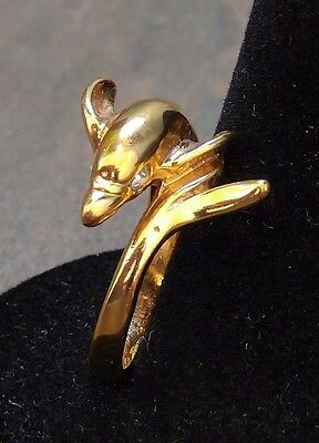 Vintage Dolphin Gold Tone with Crystal Eyes Wrap Ring - Size 6 - Sea Ocean Beach