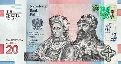 Polen Poland 2016 Banknote - 1050th Anniversary of the Baptism of Poland 20 zl