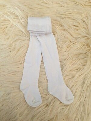 New Baby Girls Cotton Knit Tights ... white ivory,  3m 6m 12m