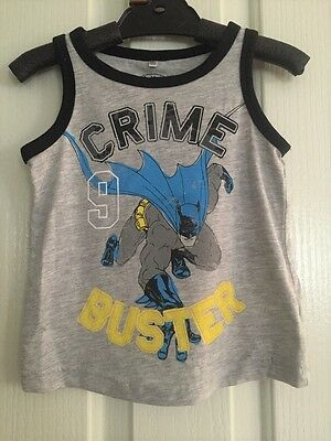 NEW DC Licensed Kids Boys Batman Tank Top Vest Singlet Size 1.2.4.5.6.7