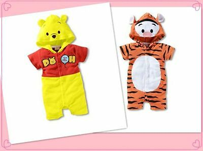 NEW Winnie the Pooh Tigger Summer Costume One-Piece Romper Hood Jumpsuit 0/1/2