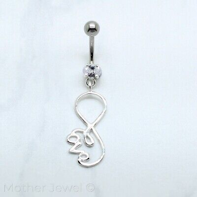 925 Sterling Silver Infinity Love Simulate Diamond Surgical Steel Belly Bar Ring