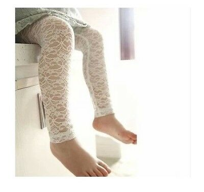NEW Baby Girl Cotton Lace Legging Crop Pants, Ivory white, 0-9 mos or 9-18 mos