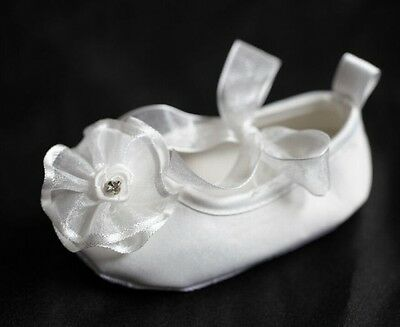 Gorgeous Baby Girl Christening Dressy Shoes w/Peony & Diamond  6-12 month size 4