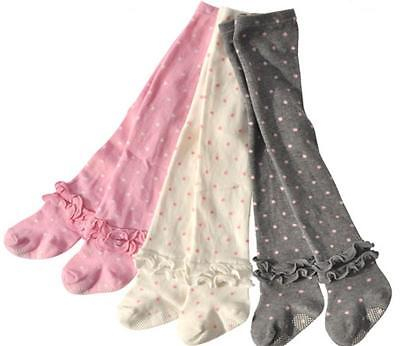 New Kids Girls Toddler Polka Dots & Frill Combed Cotton Knit Tights size 1.2.3.4