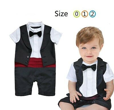 Baby Boy One Piece Black Formal Cotton Romper w/ BowTie Tuxedo Outfit size 0