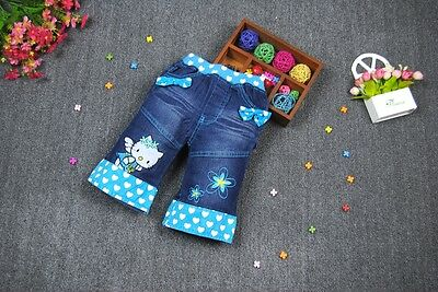 NEW Hello Kitty Kids Girls Washed Denim Shorts in blue Size 1 or 2