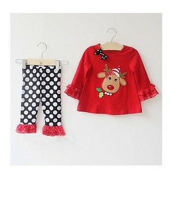 NEW Baby Kids Girls Red Reindeer Christmas Outfit Top & Legging SET Size 1 2 3