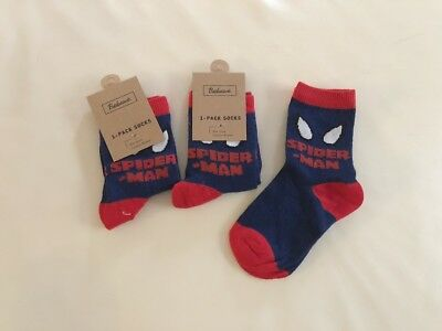 2 Pairs, Spiderman Cotton Knit Baby Boy Socks 1-3 years