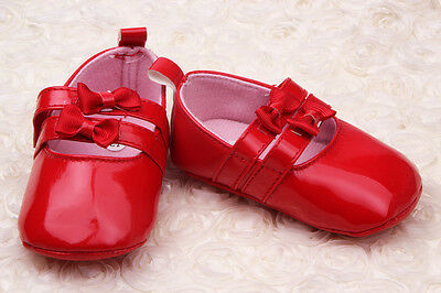 NEW Infant Baby Girl Christening Patent Red or White Shoes 3-18 months SZ 2.4.5
