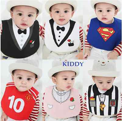 Baby Boy/Girl Costume Bibs - Superman.Coach.Tuxedo.Party Princess.Pirate 0-3 yrs