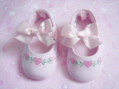 Baby Girl Gorgeous Floral Heart Ballerina Bow Shoes 6-12 months Size 4