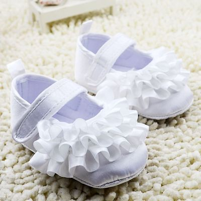 NEW Baby Girl White Satin ruffle Christening Pre-walker Shoes 0-6-9 months