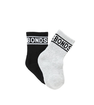 Bonds BABY Kids CREW SOCK 2 PACK, white grey black, 0-6-12 mos, 1-2-4-5-7 yrs