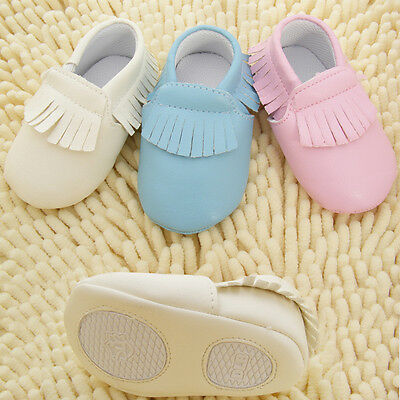 NEW Infant Baby Boy Girl Moccasins Loafer Shoes 3-18 months pink blue cream