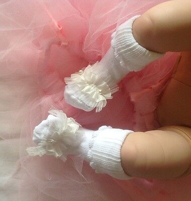 Handmade Christening White Frills w/Pearls Diamantes Baby Girl Socks 0-12 months