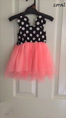 Kids Girls Summer Sleeveless Minnie Mouse Dress Size 3 Coral