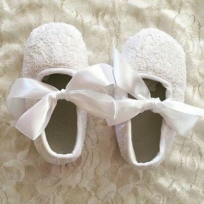 NEW Baby Girl White Lace Christening Pre-walker Shoes 0-18 months Size 1.2.3.4.5