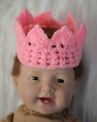 Baby Crochet Crown & Tiara for Photo Prop Pink Blue Yellow