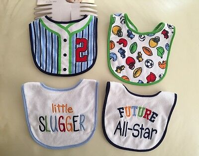Pack of 4 Baby Boy Sporty Sport Feeder Cotton Bibs - Future ALL STAR 0-3 years