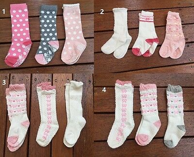 SET of 3 × Gorgeous Frill Toddler Kids Girl Skid Cotton Socks 1-3 years old