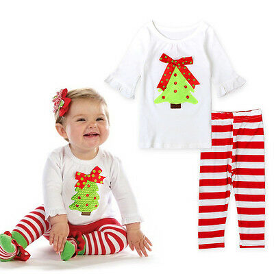 NEW Baby Kids Girls Christmas Tree Outfit, Top Tee & Legging 2pc SET, Size 1 & 3