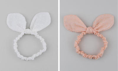 NEW Baby Infant Toddler Girls adorable Bunny Ears Lace Cotton Headband 6m-8yrs