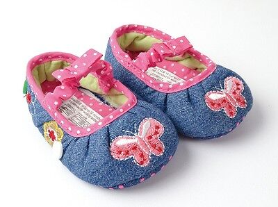 BNWT Mothercare Baby Girls Pleated Denim Butterfly Shoes 3-12m Size 2/3/4