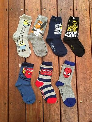 NEW Pack of 3, Kids Character Crew Socks, Minions Cars Theme 3-5 years