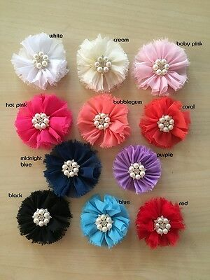 DIY Large Shabby Chiffon Flower with Pearl Rhinestone Embellishment Craft