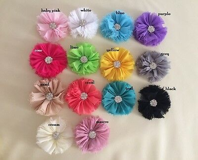 NEW DIY Large Shabby Chiffon Flower with Rhinestone Embellishment Craft