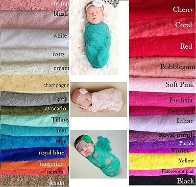 Newborn Stretch Lace Floral Wrap Baby Photo Photography Prop Cloth Backdrop