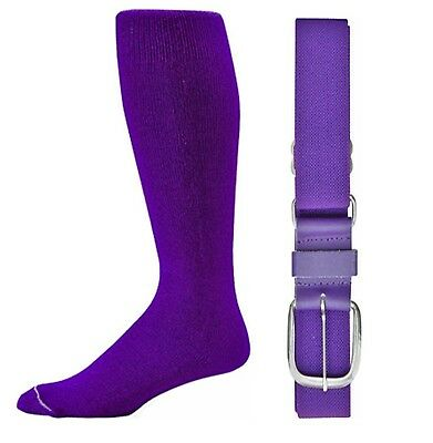 (Intermediate, Purple) - Baseball/Softball Belt & Sock Combo (Youth & Adult