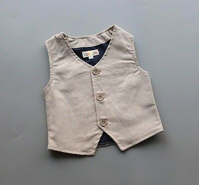 NEW Kids Boys Formal Suit Vest, Beige Khaki, Size 12-18-24-36M