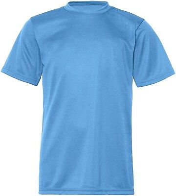 (Large, Columbia Blue) - C2 Sport Youth Athletic Antimicrobial Crewneck T-Shirt