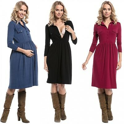 Happy Mama. Women's Maternity Midi Dress Easy Nursing Access 3/4 Sleeve. 703p