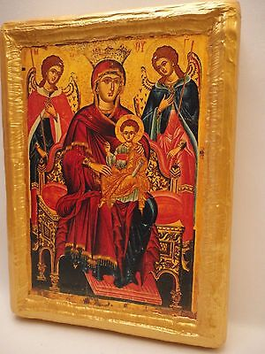 Virgin Mary Jesus Angels Rare Christianity Greek Orthodox Icon Art One of A Kind