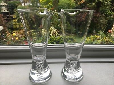 Pair TUDOR air twist Cocktail glass Carafes Decanters pinched spouts signed