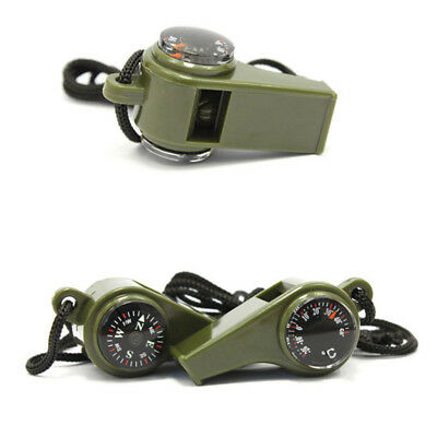 Outdoor Multifunctional Emergency Survival Whistle Compass Random Color
