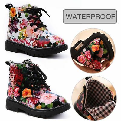 Kids Girls Floral Martin Shoes Toddler Princess Ankle Boots Children Shoes Size