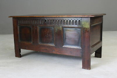 Antique Rustic 18th Century Oak Coffer Chest Blanket Box Storage
