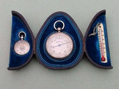 Rare Victorian 1899 Silver Pocket Barometer, Compass & Thermometer Combination