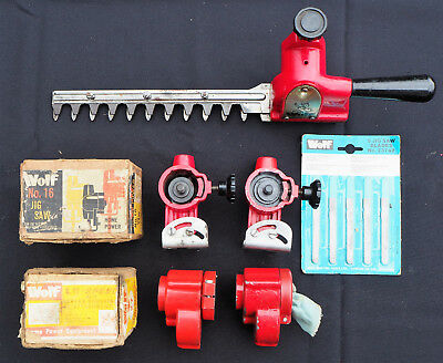 Vintage collectable Wolf power tool accessories, jig saws, reduction drives, etc